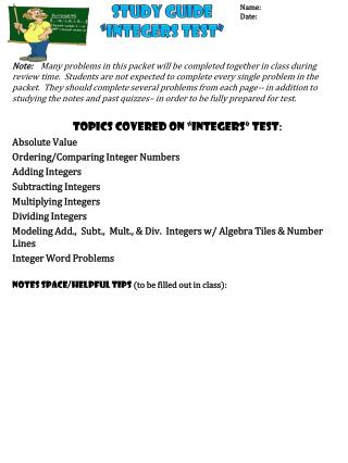 "Study Guide ""Integers Test"""