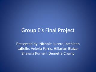 Group E�s Final Project