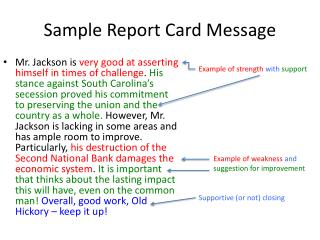 Sample Report Card Message