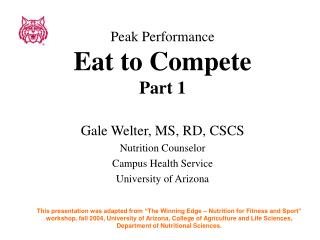 Peak Performance Eat to Compete Part 1