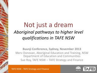 Not just a dream Aboriginal pathways to higher level qualifications in TAFE NSW
