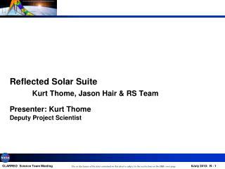 Presenter: Kurt  Thome