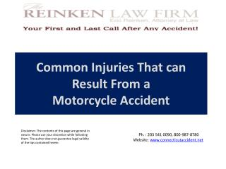 Common Injuries  That can  Result From a  Motorcycle  Accident