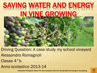 Saving water and energy in vine growing
