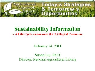 Sustainability Information   ~ A Life Cycle Assessment (LCA) Digital Commons