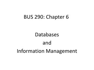 BUS 290: Chapter  6