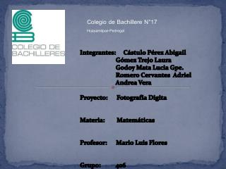 Colegio de Bachillere N°17 Huayamilpas-Pedregal