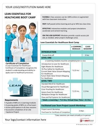 LEAN  ESSENTIALS FOR  HEALTHCARE BOOT CAMP