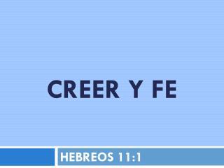 CREER Y FE