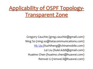 Applicability of OSPF Topology-Transparent Zone