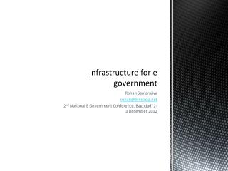 Infrastructure for e government