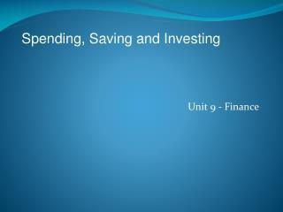 Unit 9 - Finance