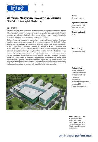 Rodzaj usług Instalacje sanitarne Centralne ogrzewanie Instalacja chłodząca Wentylacja
