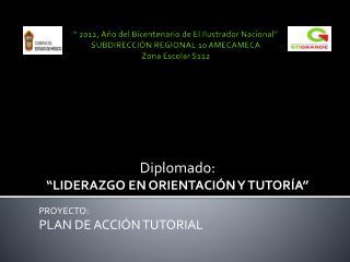 """Diplomado: """"LIDERAZGO EN ORIENTACIÓN Y TUTORÍA"""" PROYECTO: PLAN DE ACCIÓN TUTORIAL"""