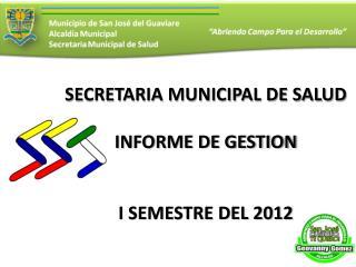 SECRETARIA MUNICIPAL DE SALUD INFORME DE GESTION I SEMESTRE DEL 2012