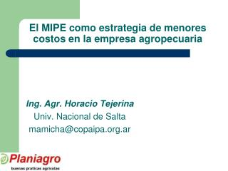 El MIPE como estrategia de menores costos en la empresa agropecuaria