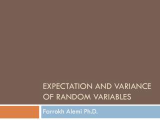 Expectation And Variance of Random Variables