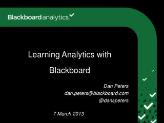 Learning Analytics with Blackboard