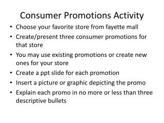 Consumer Promotions Activity