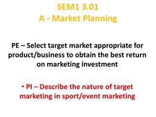 SEM1 3.01 A - Market Planning