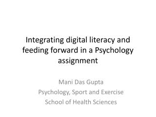 Integrating digital literacy and feeding forward in a Psychology assignment