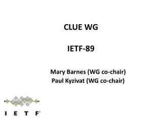 CLUE WG IETF - 89
