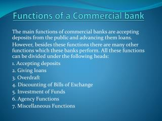 F unctions of a Commercial bank
