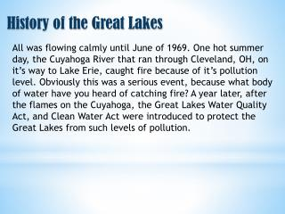 History of the Great Lakes