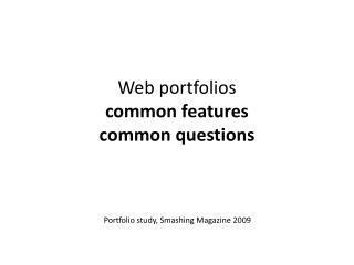 Web  portfolios common features common questions