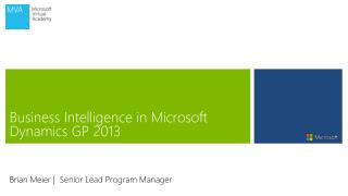 Business Intelligence in Microsoft Dynamics GP 2013