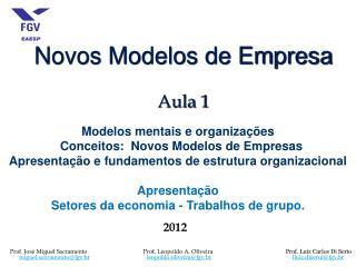 Novos Modelos de Empresa Aula  1