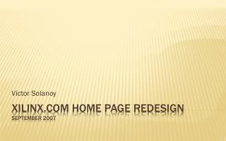 Xilinx Home Page Redesign September 2007