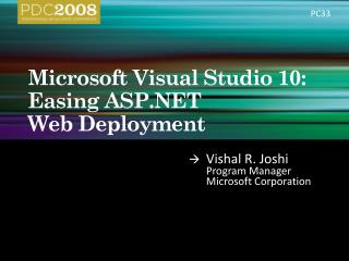 Microsoft Visual Studio 10:  Easing ASP  Web Deployment
