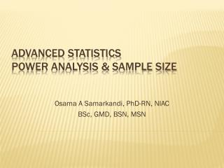 Advanced Statistics  Power Analysis & Sample Size