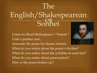 The English/Shakespearean Sonnet
