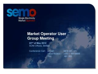 Market Operator User Group Meeting