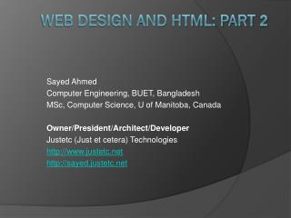 Web design and HTML: Part  2