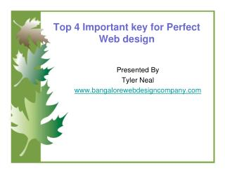 Top 4 Important key for Perfect Web design