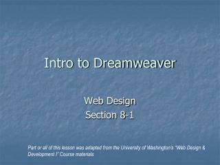 Intro to Dreamweaver