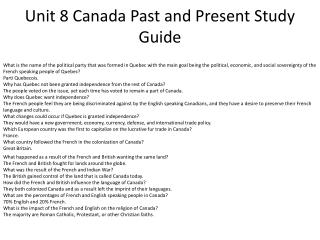 Unit 8 Canada Past and Present Study Guide