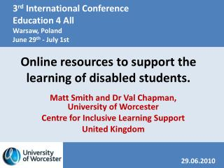 Online resources to support the learning of disabled students.
