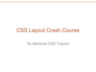 CSS Layout Crash Course
