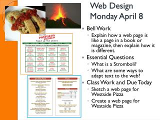 Web Design Monday April 8