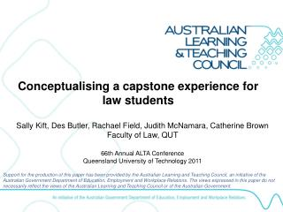 Conceptualising a capstone experience for law students