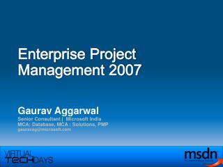 Enterprise Project  Management 2007