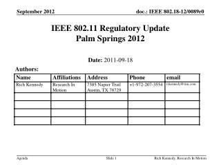 IEEE 802.11 Regulatory  Update Palm Springs  2012