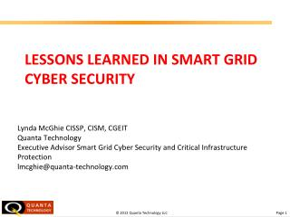 Lessons Learned in Smart Grid Cyber Security