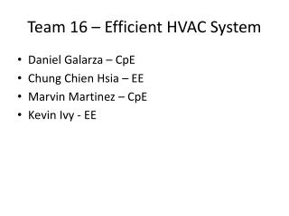 Team 16 – Efficient HVAC System