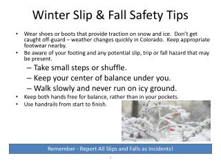 Winter Slip & Fall Safety Tips