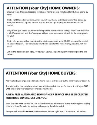 ATTENTION (Your City) HOME OWNERS: